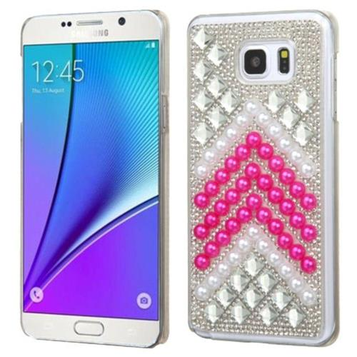Insten Hard Rhinestone Cover Case For Samsung Galaxy Note 5 - Hot Pink/White