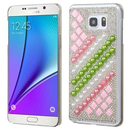 Insten Hard Rhinestone Case For Samsung Galaxy Note 5 - Hot Pink/Green