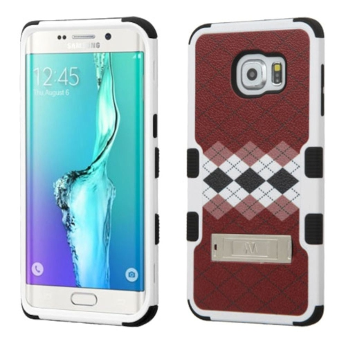 Insten Diagonal Plaid Hard Rubber Cover Case w/stand For Samsung Galaxy S6 Edge Plus, Brown/Black