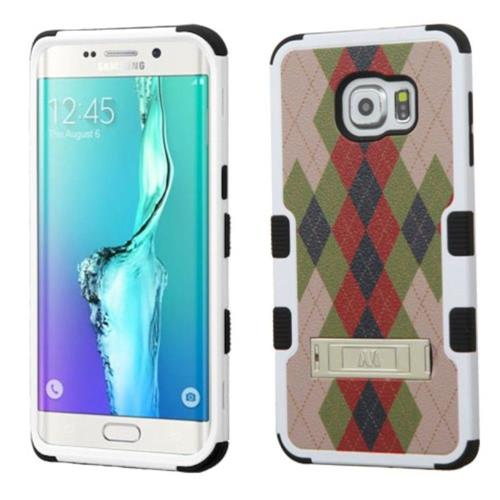 Insten Diagonal Plaid Hard Hybrid Silicone Case w/stand For Samsung Galaxy S6 Edge Plus, Brown/Black