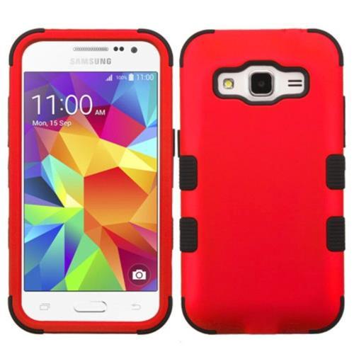 Insten Tuff Hard Hybrid Silicone Case For Samsung Galaxy Core Prime - Red/Black
