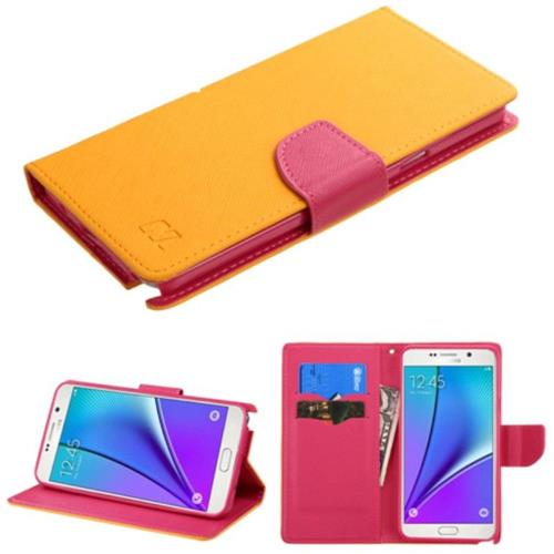 Insten Leather Fabric Cover Case w/stand/card holder For Samsung Galaxy Note 5, Yellow/Hot Pink