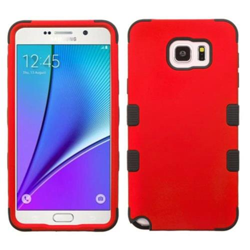 Insten Hard Dual Layer Rubberized Silicone Case For Samsung Galaxy Note 5 - Red/Black