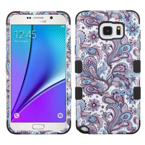 Insten European Flowers Hard Dual Layer Rubber Silicone Case For Samsung Galaxy Note 5, Purple/White