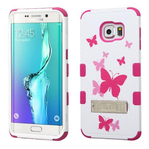 Insten For Samsung Galaxy S6 Edge Plus Hot Pink Butterfly Dancing Hard Hybrid Case