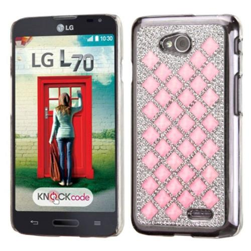 Insten Hard Diamante Case For LG Optimus Exceed 2 VS450PP Verizon/Optimus L70/Realm - Silver/Pink