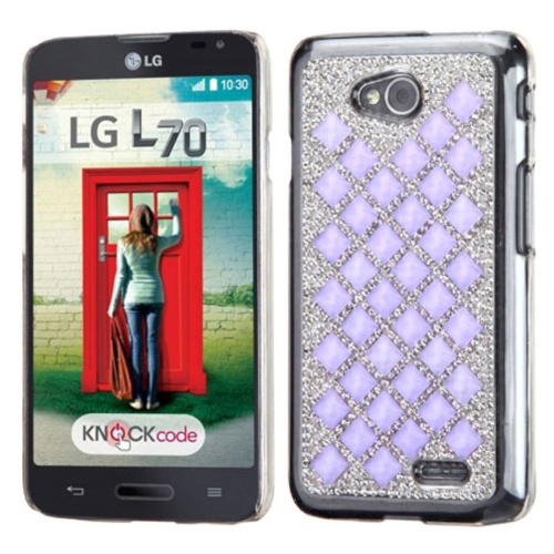 Insten Hard Diamond Case For LG Optimus Exceed 2 VS450PP Verizon/Optimus L70/Realm, Silver/Purple