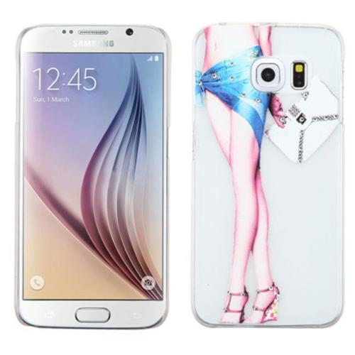 Insten Lady with Long Legs Hard Rubber Coated Case For Samsung Galaxy S6 - White/Blue