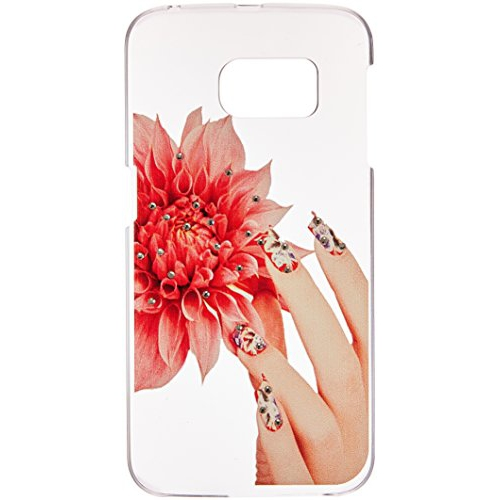 Insten Fine Hand Fiddling with Flower Hard Rubberized Case For Samsung Galaxy S6 Edge, White/Red