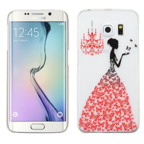 Insten Fitted Soft Shell Case for Samsung Galaxy S6 Edge - White;Red