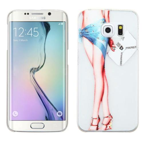 Insten Lady with Long Legs Hard Cover Case For Samsung Galaxy S6 Edge - White/Blue