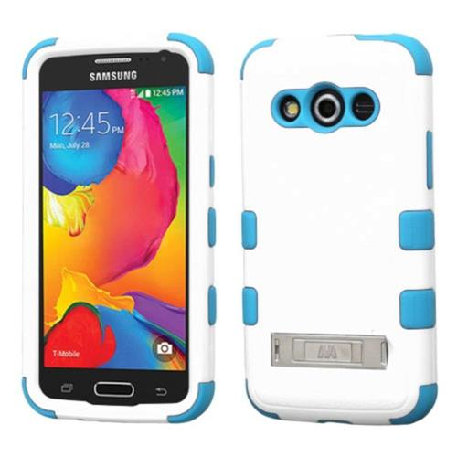Insten Hard Hybrid Rubber Silicone Case w/stand For Samsung Galaxy Avant - White/Blue