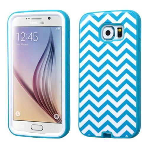 Insten Verge Wave Hard Hybrid Silicone Case For Samsung Galaxy S6 - Blue/White