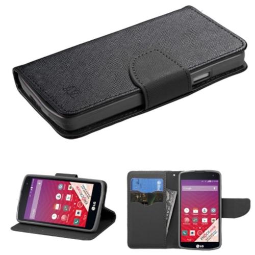 Insten Flip Leather Fabric Case w/stand/Diamond For LG Optimus F60 - Black