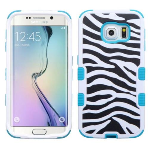 Insten Tuff Zebra Hard Hybrid Rubber Coated Silicone Case For Samsung Galaxy S6 Edge - Black/White