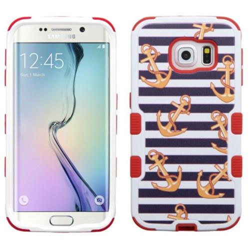 Insten Nautical Stripes Hard Rubberized Silicone Case For Samsung Galaxy S6 Edge, Blue/Red
