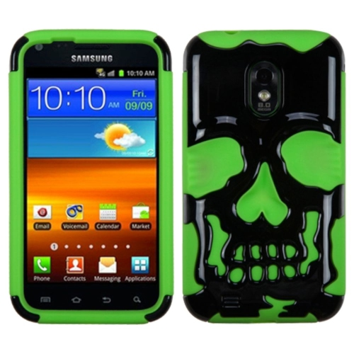 Insten Skullcap Hard Plastic Silicone Case For Samsung Galaxy S2 Epic 4G Touch D710, Green/Black