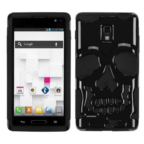 Insten Skullcap Hard Dual Layer Plastic Silicone Cover Case For LG Optimus L9 P769 - Black