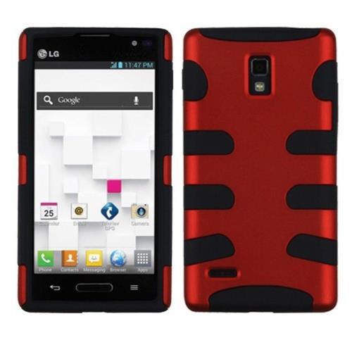 Insten Fishbone Hard Dual Layer Metallic Silicone Cover Case For LG Optimus L9 P769 - Red/Black