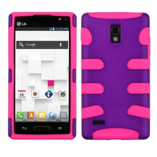 Insten Fishbone Hard Rubber Coated Silicone Cover Case For LG Optimus L9 P769, Purple/Pink