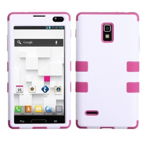 Insten Tuff Hard Hybrid Silicone Case For LG Optimus L9 P769 - White/Hot Pink