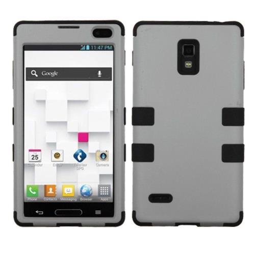 Insten Tuff Hard Hybrid Rubber Silicone Cover Case For LG Optimus L9 P769 - Gray/Black