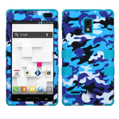 Insten Tuff Camouflage Hard Dual Layer Silicone Cover Case For LG Optimus L9 P769 - Blue/Purple