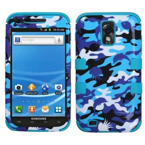 Insten Camouflage Hard Silicone Cover Case For Samsung Galaxy S2 Hercules T989, Blue/Purple