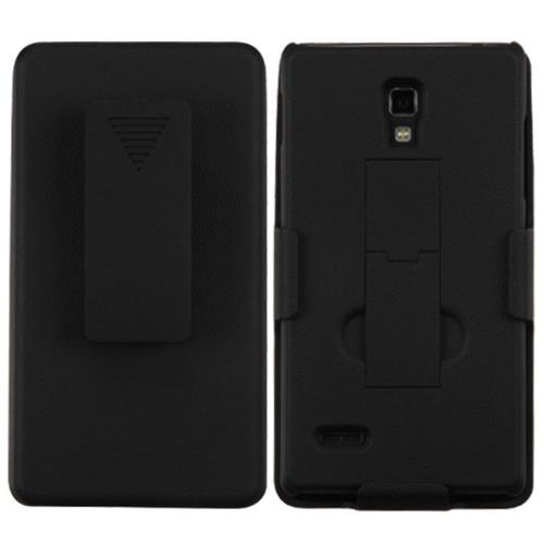 Insten Hard Matte Cover Case w/stand/Holster For LG Optimus L9 P769 - Black
