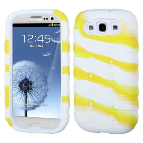 Insten Tuff eNuff Camo Soft Dual Layer Rubber Hard Cover Case For Samsung Galaxy S3 - White/Yellow