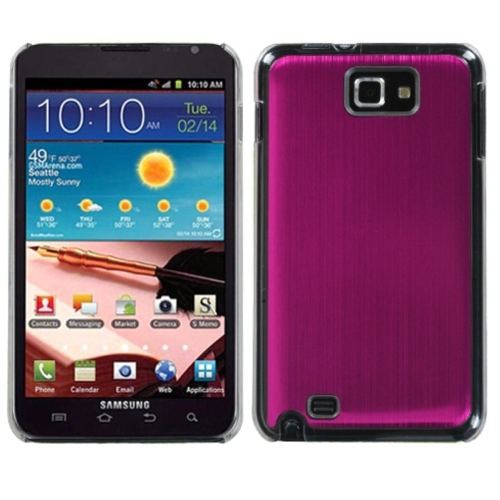 Insten Cosmo Aluminum Metallic Hard Cover Case For Samsung Galaxy Note - Pink/Clear