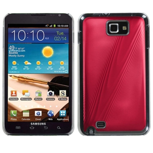 Insten Cosmo Aluminum Metallic Hard Cover Case For Samsung Galaxy Note - Red/Clear