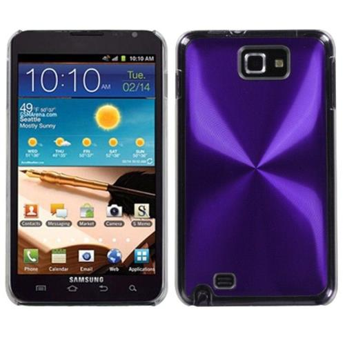 Insten Cosmo Aluminum Metallic Hard Case For Samsung Galaxy Note - Purple/Clear