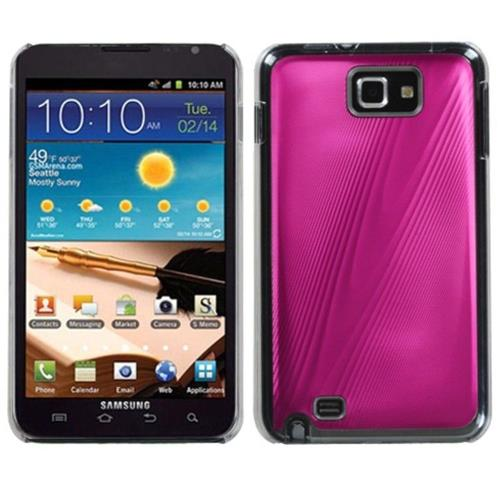 Insten Cosmo Aluminum Metallic Hard Case For Samsung Galaxy Note - Pink/Clear