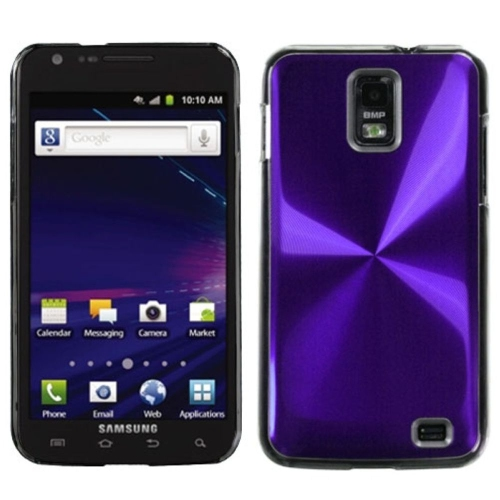 Insten Cosmo Aluminum Metallic Hard Case For Samsung Galaxy S2 Skyrocket I727 - Purple/Clear