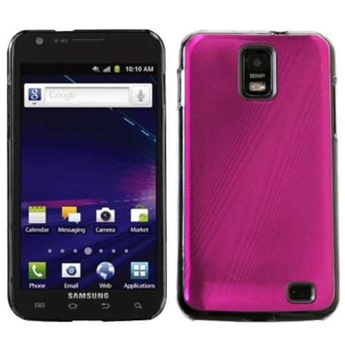 Insten Cosmo Aluminum Metallic Hard Cover Case For Samsung Galaxy S2 Skyrocket I727 - Pink/Clear