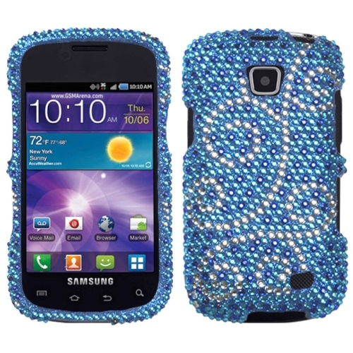 Insten Flourish Hard Diamante Cover Case For Samsung Illusion - Blue/Silver