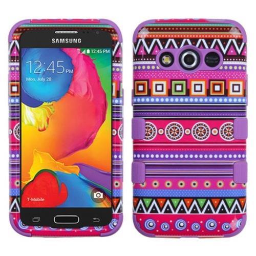 Insten Tuff Tribal Fashion Hard Hybrid Silicone Cover Case For Samsung Galaxy Avant - Purple