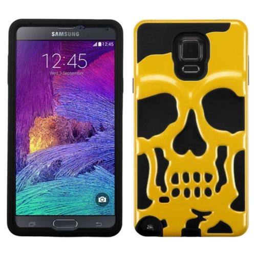 Insten Skullcap Hard Hybrid Rubber Coated Silicone Case For Samsung Galaxy Note 4 - Yellow/Black