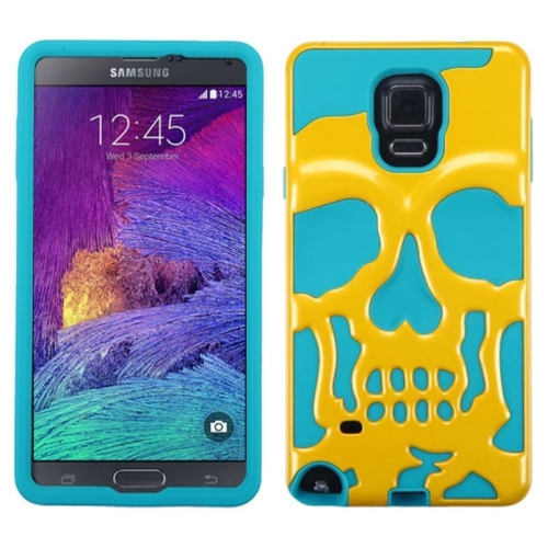 Insten Skullcap Hard Dual Layer Rubber Silicone Case For Samsung Galaxy Note 4 - Yellow/Blue