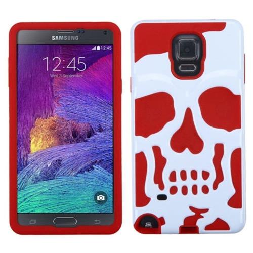 Insten Skullcap Hard Dual Layer Rubber Silicone Cover Case For Samsung Galaxy Note 4 - White/Red