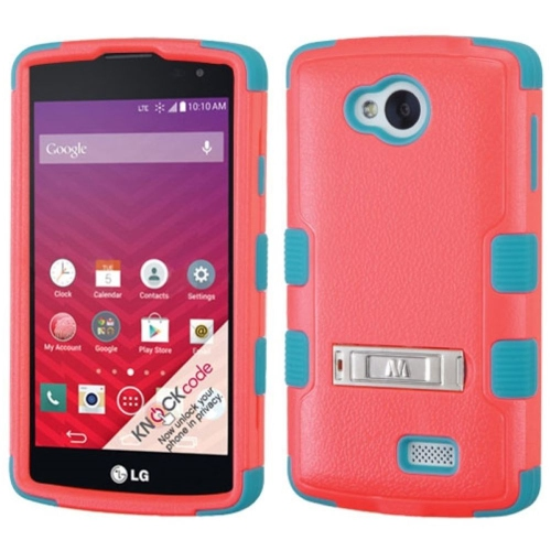 Insten Hard Dual Layer Rubber Silicone Case w/stand For LG Optimus F60 - Red/Blue