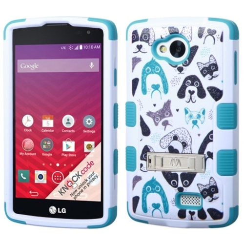 Insten Tuff Cutedogs Hard Hybrid Silicone Cover Case w/stand For LG Optimus F60 - White/Blue