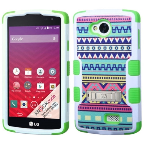 Insten Tuff Tribal Sun Hard Dual Layer Rubber Silicone Cover Case w/stand For LG Optimus F60 - Green