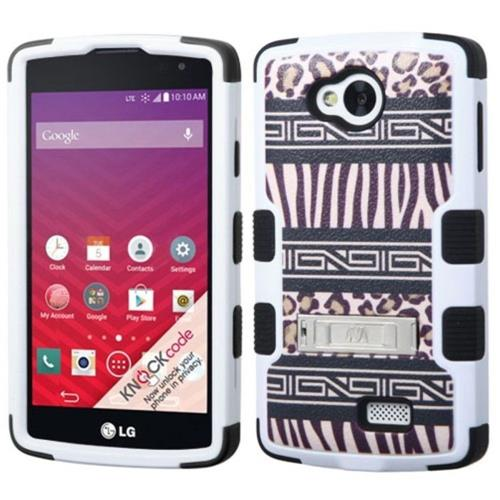 Insten Tuff Zebra Hard Hybrid Silicone Cover Case w/stand For LG Optimus F60 - Brown/Black