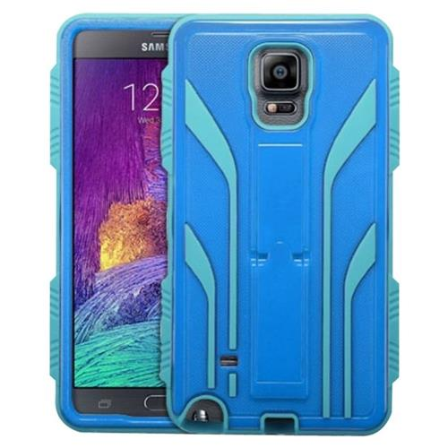 Insten Extreme Tuff Hard Hybrid Rubber Coated Silicone Case w/stand For Samsung Galaxy Note 4 - Blue