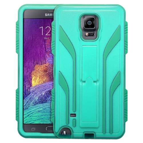 Insten Extreme Hard Dual Layer Rubber Coated Silicone Case w/stand For Samsung Galaxy Note 4, Teal