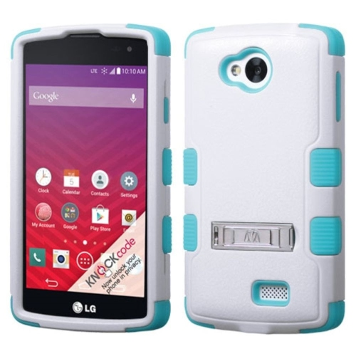 Insten Hard Hybrid Rubberized Silicone Cover Case w/stand For LG Optimus F60 - White/Blue