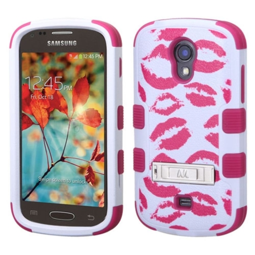 Insten Kisses Hard Rubber Silicone Cover Case w/stand For Samsung Galaxy Light, White/Hot Pink