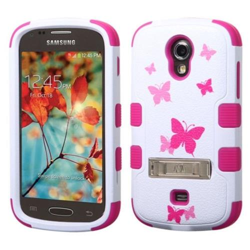 Insten Butterfly Dancing Hard Rubber Coated Case w/stand For Samsung Galaxy Light, White/Hot Pink